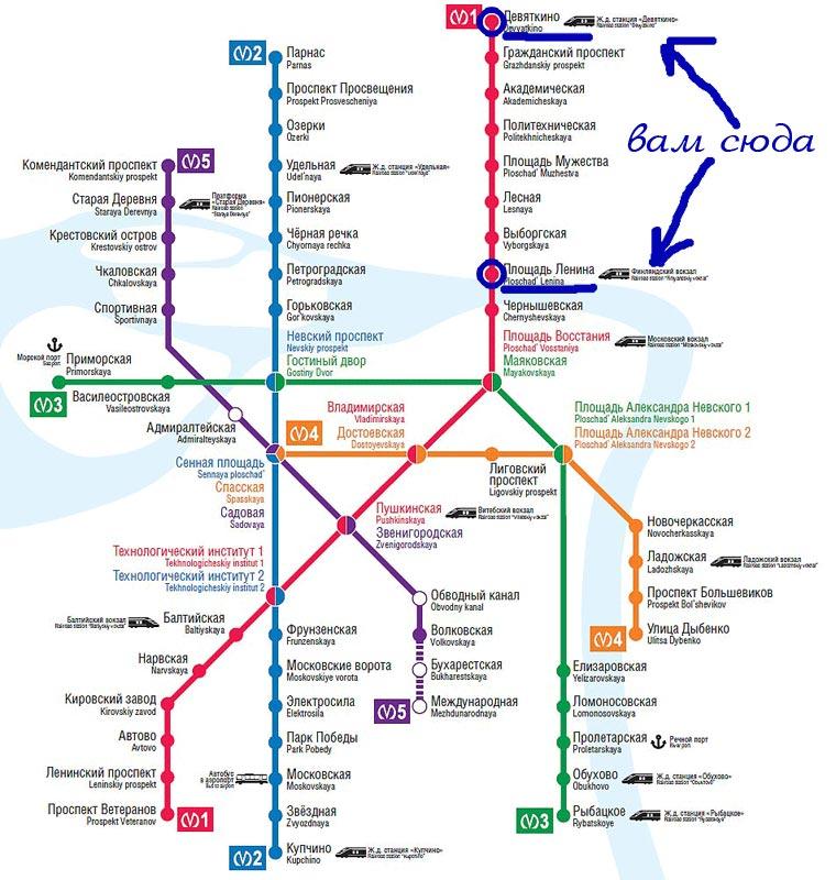 Схема метро для иногородних